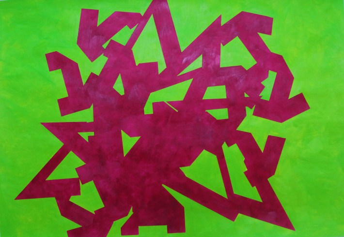 color kubikoide, 70 x 100 cm.acrilic on paper,Barcelona 2010