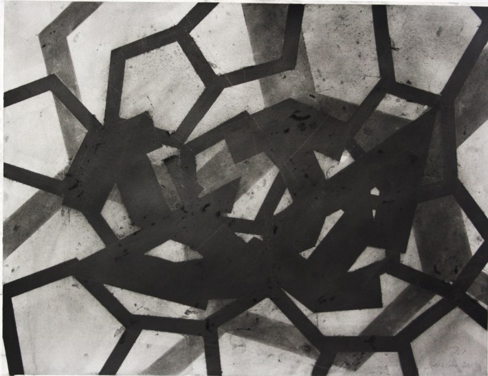 geometric space, 70 x 100 cm.,charcoal on papel