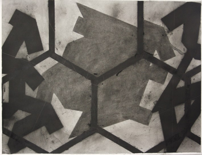 geometric space, 70 x 100 cm.charcoal on paper (2)