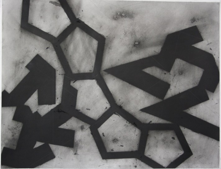 geometric space, 70 x 100 cm. charcoal on paper