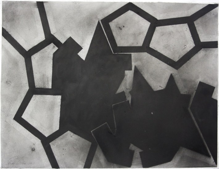 geometric space,70 x 100 cm.charcoal on papel