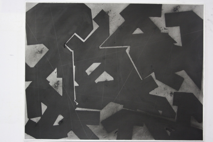 geometric space,70 x 100 cm. charcoal on paper (3)
