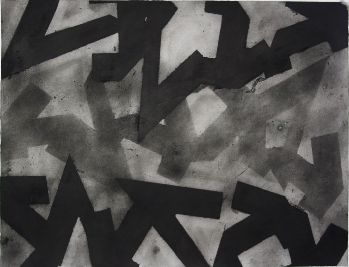 geometric space,70 x 100 cm. charcoal on paper
