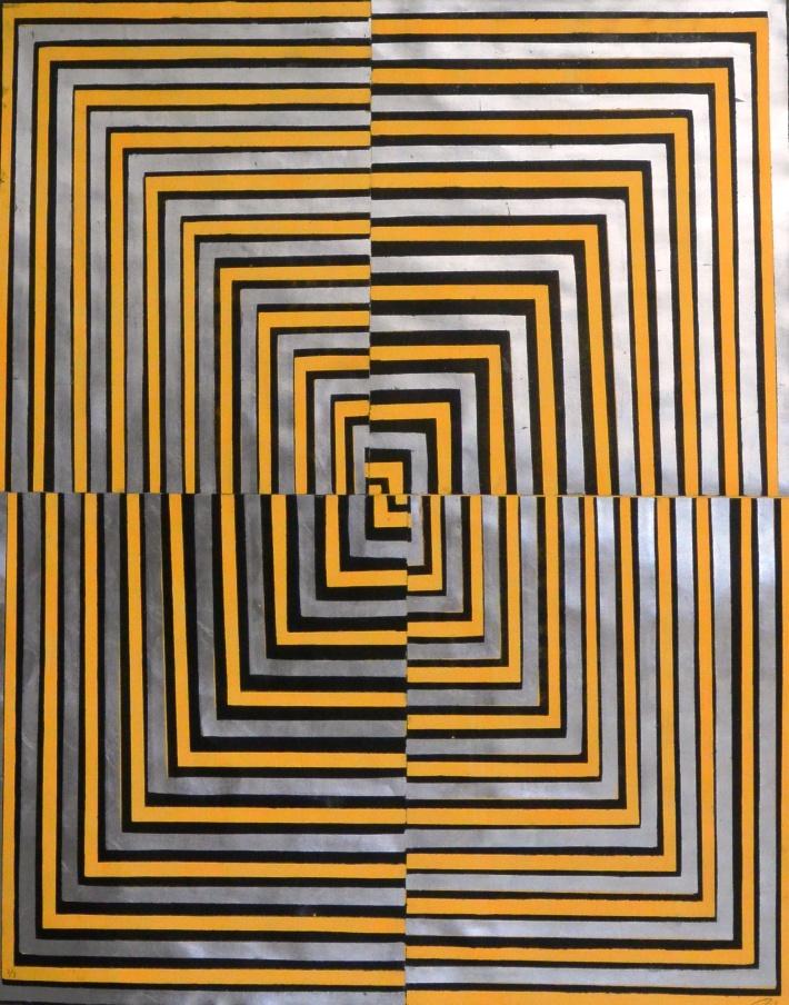 cuadrados concentricos,125 x 100 cm. lito 2015