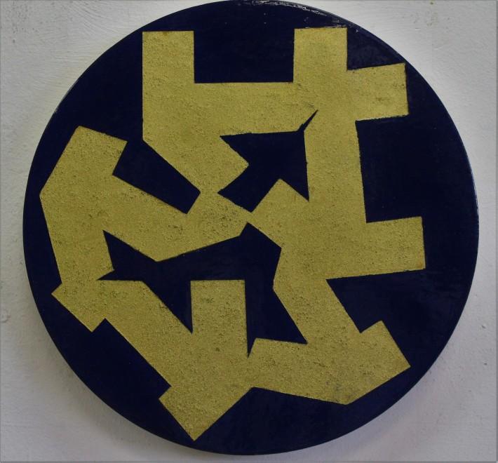 kubikoide circular, 30 cm. diametro,oleo y acrilico sobre madera