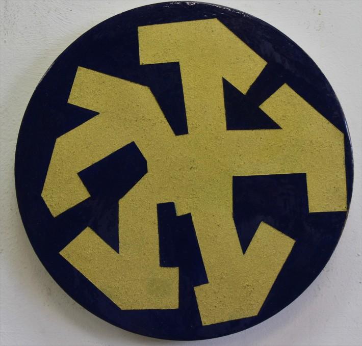 kubikoide circular II, 30 cm diametro, oleo y acrilico sobre madera