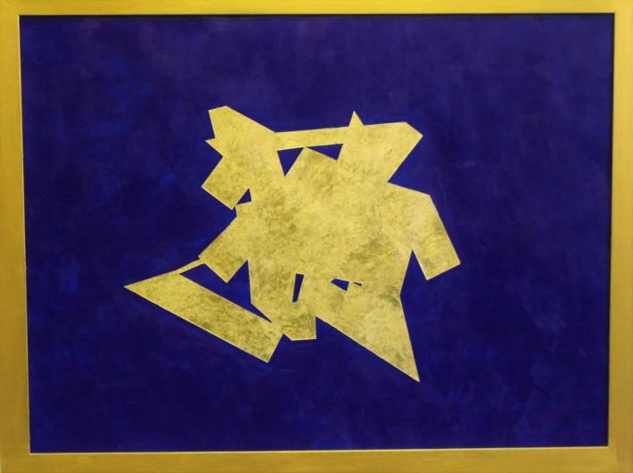 kubikoide dorado 66,5 x 86,5 cm.acrilico y pan de oro sobre papel